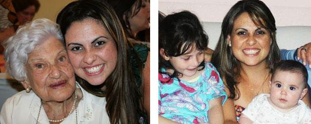 Priscilla com a avó Alice (2009) e com as sobrinhas Lívia e Isabella (2013)
