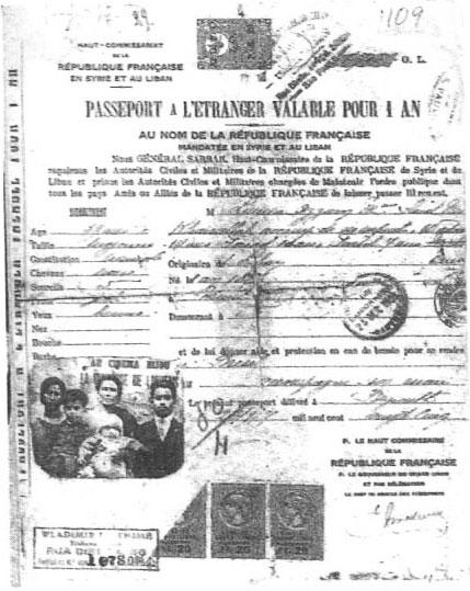 Passaporte francês para Lamia e filhos deixarem o Líbano pelo período de um ano.